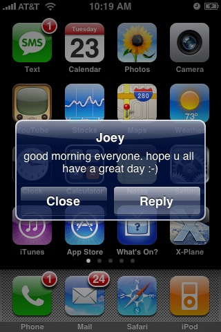 txt msg from joey